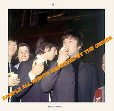 THE BEATLES PHOTO 5 x 5 SNAPSHOT CANDID OF THEM EATING APPLES MID 60`S
