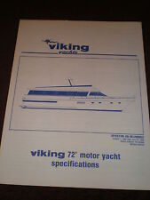 1994 VIKING YACHTS 72' MOTOR YACHT SPECIFICATIONS / MARKETING BROCHURE