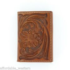 BROWN Tooled Leather ~Nocona® Tri-fold WALLET ~ Floral Tooling N5490808