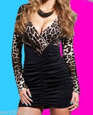 LEOPARD & BLACK MINI DRESS WITH LONG SLEEVES S/M 8-10