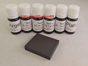 6 test testeur à tester or 9 14 18 20 24 argent platine pierre  touche naturelle