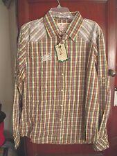 Mens Jachs Just a Cheap Shirt Brown Green Yellow Blue Plaid Stripes NWT XL  XXL