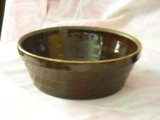 Antique Large Shallow Rockingham Type Rich Brown Glaze Pottery Bowl Mrkd. USA