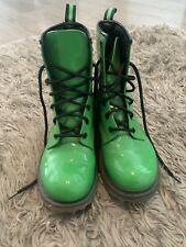 No Boundries Green Boots Natasha Size 8 Solid Laces All Weather Combat EUC