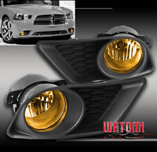 11-14 DODGE CHARGER BUMPER DRIVING YELLOW FOG LIGHT LAMP W/BULB+COVER+SWITCH KIT