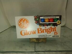 Vintage GE Glow Bright 15 Light Set Outdoor Soft Glow Colors New 1990s