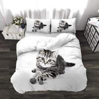 Cute Cat Angel 3D Quilt Duvet Doona Cover Set Single Double Queen King Print