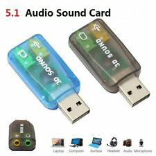 5.1 External USB to 3.5mm Sound Card 3D Audio Mic Adapter for PC Notebook Laptop