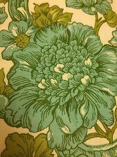 Vintage Retro Fabric 3 yards Waverly Fabrics Damask Green Bolton Manor Teal