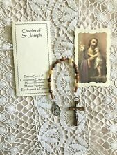 ST. JOSEPH CHAPLET, BETHLEHEM OLIVE WOOD BEADS, HAND-MADE, NEW, FEAST DAY MAY 1