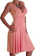 EyeCatch Peach Sleeveless Grecian Slinky Dress Plunge Neckline With Wrap 14 BNWT