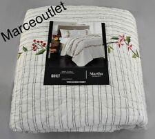 Martha Stewart Embroidered Flowers Cotton Full / Queen Quilt & Standard Shams