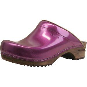 Sanita Wood Classic Patent Damen Clogs   Hausschuhe   Gartenschuhe   Lackleder -