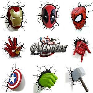 Marvel Avengers 3D Wall Light Spider-man Hulk Iron Man Captain America Thor 3DFX