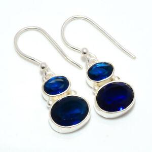 """Blue Sapphire 925 Sterling Silver Earring Handmade Jewelry 1.09"""" W2438"""