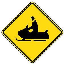 """Snowmobile Crossing Warning sign sticker decal 4"""" x 4"""""""