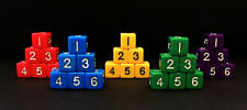 30 NEW Numbered D6 Dice - 6 Sided Dice - Red Blue Yellow Green Purple