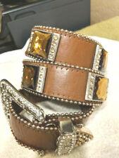 Brown Leather Belt & Buckle Huge Bronze Gold Square Prism Cut Crystals Beading S