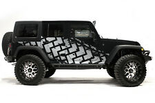Vinyl Graphics Decal TIRE TRACKS Wrap Kit for Jeep Wrangler 4D 2007-2016 Silver