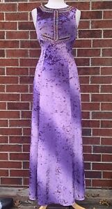 Free People Hello Gorgeous Crushed Purple Velvet Embroidered Maxi Dress Size XS
