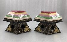 MD12 Japanese Miniature Lacquer Hina Doll Wood Rice Cake Set Of 2
