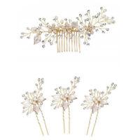 Women gold rhinestone pearl hair comb clip bridal wedding hair accessories RS