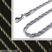"2.4mm Stainless Steel Chain - 18"" to 36 "" Mens Womens Rope Chain Silver Necklace"