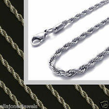 """Stainless Steel 18"""" to 36 """" Long Mens Chain Womens Rope Necklace 2.4mm Wide New"""