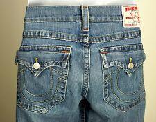Men's TRUE RELIGION BILLY Denim Blue Jeans Distressed Stone Wash 36x33