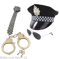 MENS POLICEMAN HAT TIE HANDCUFFS & GLASSES POLICE SET MAN COP FANCY DRESS STAG