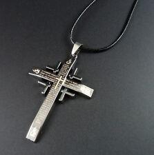 Collar de Cruz Cristiana Católica en gris metálico con Padre Nuestro grabado