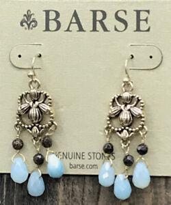 Barse First Frost Earrings- Amazonite & Bronzite- Bronze- NWT