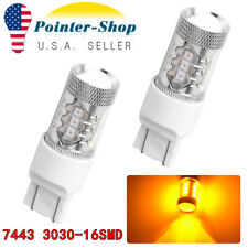 2x Amber/Yellow 7443 7440 3030 Non-polarity LED Turn Signal Parking Light Bulbs