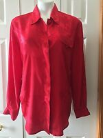 Womens Tess Size Medium M red jacquard blouse L Large