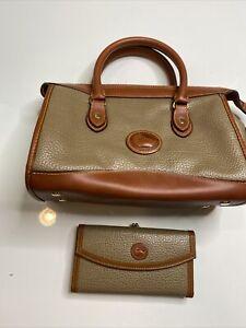 Vintage Dooney & Bourke All Weather Saddle Bag and wallet Olive green and brown