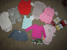 NEW LOT /14 BABY GIRL CLOTHING CARTERS SHORTS ROMPERS SOCKS+ NEWBORN FREE SHIP