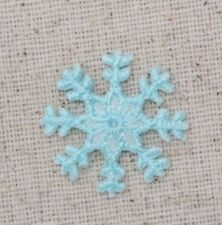 "Small 1"" Christmas Cyan Blue Snowflake - Iron on Applique/Embroidered Patch"