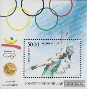 Tayikistán Bloque 1 (completa edición) nuevo con goma original 1993 Olimpia