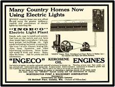 Worthington Pump & Machinery Co. New Metal Sign: Ingeco Kerosene Engine