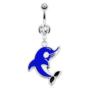 316L Surgical Steel Clear Gem Belly Rings with Blue Dolphin Dangle