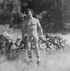 Vintage Photo Negative Beefcake Bearded Man Muscles Nude Gay Interest