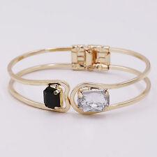 Fashion Lady Black Clear Rhinestone Gem Hand Chain Link Bangle Cuff Bracelet New