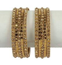 Indian Bangles Jewelry Bollywood Bridal Gold Tone Antique Design Lovable Set