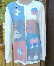 Womens Embellished Cardigan Winter Skating Mittens Penguin Igloo Snowflake Small