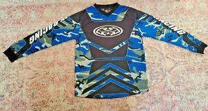 MX Racing Motocross Long Sleeve Jersey Shirt-Youth Sz L (14-16)-Blue Multicolor