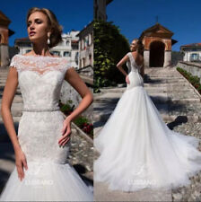 Slim White Ivory Wedding Dresses Bridal Gowns Scoop Neck Top Lace Tulle Backless