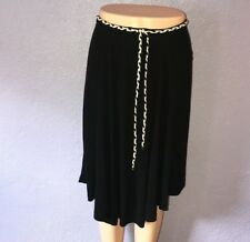 TOCCA $165 Black Viscose Midi Skirt With Braided Tie 4 Flowy Beautiful Casual