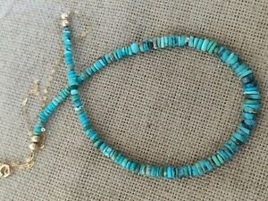 Natural SLEEPING BEAUTY TURQUOISE bead solid 9ct gold pendant necklace vtg