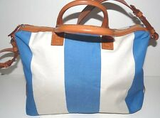 Authentic Lambertson Truex Rayures Bleu Leather Holdall