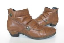 Ladies RIEKER Anti-Stress Brown Leather Ankle Low Heel Boots Size 38 UK 5